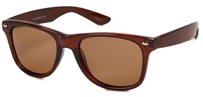 Angle of Rambler #1188 in Brown Frame, Women's and Men's Retro Square Sunglasses