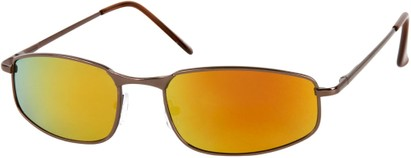 Angle of Cayman #62 in Bronze/Brown Frame with Orange Mirrored Lenses, Women's and Men's Square Sunglasses