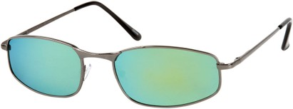Angle of Cayman #62 in Grey Frame with Blue/Yellow Mirrored Lenses, Women's and Men's Square Sunglasses