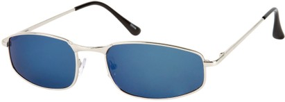 Angle of Cayman #62 in Silver Frame with Blue Mirrored Lenses, Women's and Men's Square Sunglasses