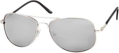 Angle of SW Polarized Mirrored Aviator Style #68 in Silver Frame with Silver Mirrored Lenses, Women's and Men's