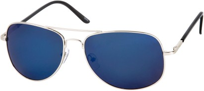 Angle of SW Polarized Mirrored Aviator Style #68 in Silver Frame with Blue Mirrored Lenses, Women's and Men's