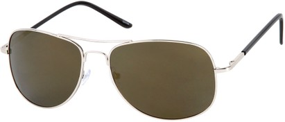 Angle of SW Polarized Mirrored Aviator Style #68 in Silver Frame with Grey Mirrored Lenses, Women's and Men's