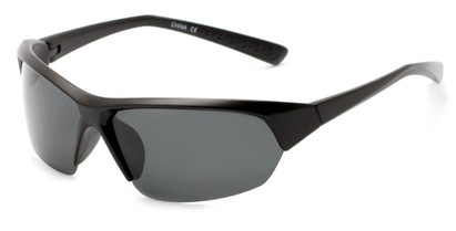 Angle of Ozark #2112 in Black Frame with Smoke Lenses, Women's and Men's Sport & Wrap-Around Sunglasses