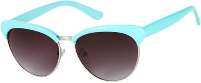 Angle of Bixby #1124 in Light Blue Frame with Smoke Lenses, Women's Browline Sunglasses