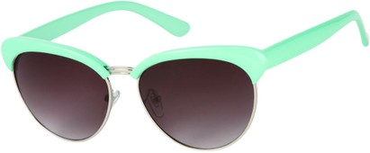 Angle of Bixby #1124 in Mint Green Frame with Smoke Lenses, Women's Browline Sunglasses