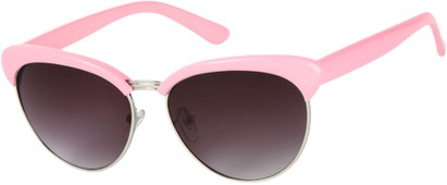 Angle of Bixby #1124 in Light Pink Frame with Smoke Lenses, Women's Browline Sunglasses