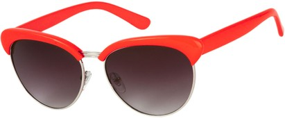 Angle of Bixby #1124 in Red Frame with Smoke Lenses, Women's Browline Sunglasses