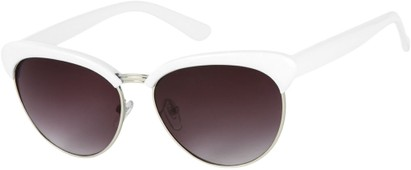 Angle of Bixby #1124 in White Frame with Smoke Lenses, Women's Browline Sunglasses