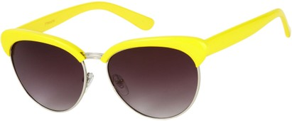 Angle of Bixby #1124 in Yellow Frame with Smoke Lenses, Women's Browline Sunglasses