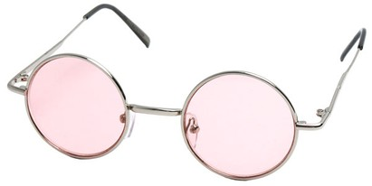 Angle of Dune in Silver Frame with Light Pink Lenses, Women's and Men's Round Sunglasses