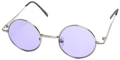 Angle of Dune in Silver Frame with Purple Lenses, Women's and Men's Round Sunglasses