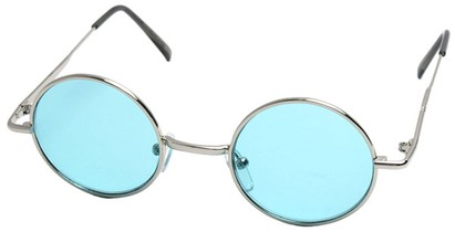 Angle of Dune in Silver Frame with Green Lenses, Women's and Men's Round Sunglasses