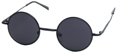 Angle of Bungalow #2425 in Black Frame, Women's and Men's Round Sunglasses