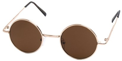 Angle of Bungalow #2425 in Gold Frame, Women's and Men's Round Sunglasses