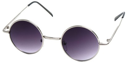 Angle of Bungalow #2425 in Silver Frame with Rose Lenses, Women's and Men's Round Sunglasses