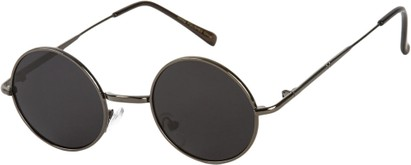 Angle of Bungalow #2425 in Grey Frame, Women's and Men's Round Sunglasses