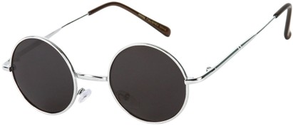 Angle of Bungalow #2425 in Silver Frame with Grey Lenses, Women's and Men's Round Sunglasses