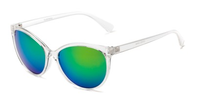 Angle of Paloma #2879 in Clear Frame with Green Mirrored Lenses, Women's Cat Eye Sunglasses