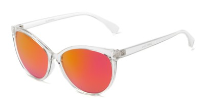 Angle of Paloma #2879 in Clear Frame with Pink Mirrored Lenses, Women's Cat Eye Sunglasses