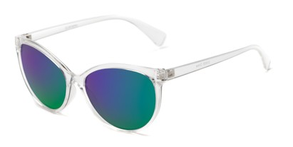 Angle of Paloma #2879 in Clear Frame with Purple/Green Mirrored Lenses, Women's Cat Eye Sunglasses