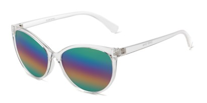 Angle of Paloma #2879 in Clear Frame with Rainbow Mirrored Lenses, Women's Cat Eye Sunglasses