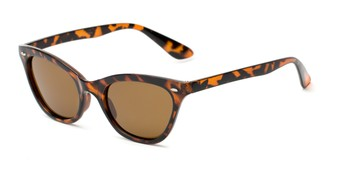 Angle of Paris #2265 in Tortoise Frame with Amber Lenses, Women's Cat Eye Sunglasses