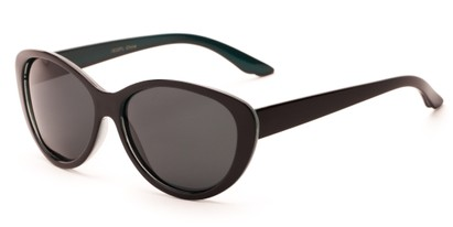 Angle of Petra #1312 in Black/Blue Frame with Grey Lenses, Women's Cat Eye Sunglasses