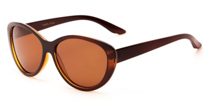 Angle of Petra #1312 in Brown Frame with Amber Lenses, Women's Cat Eye Sunglasses