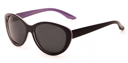 Angle of Petra #1312 in Black/Purple Frame with Grey Lenses, Women's Cat Eye Sunglasses