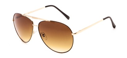 Angle of Phoenix #233 in Gold Frame with Amber Lenses, Women's and Men's Aviator Sunglasses