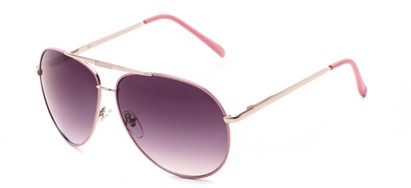 Angle of Phoenix #233 in Pink Frame with Smoke Lenses, Women's and Men's Aviator Sunglasses