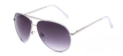 Angle of Phoenix #233 in White Frame with Smoke Lenses, Women's and Men's Aviator Sunglasses