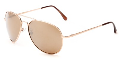 Angle of Pier #1255 in Gold Frame with Gold Lenses, Women's and Men's Aviator Sunglasses