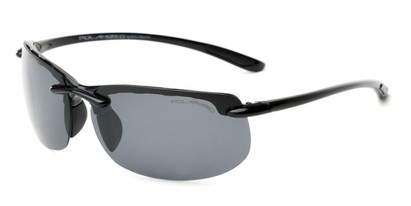 Angle of Pipeline #1371 in Glossy Black Frame with Smoke Lenses, Men's Sport & Wrap-Around Sunglasses