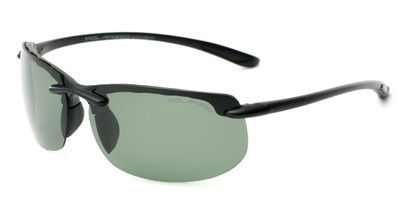 Angle of Pipeline #1371 in Matte Black Frame with Green Lenses, Men's Sport & Wrap-Around Sunglasses