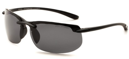 Angle of Pipeline #1371 in Matte Black Frame with Smoke Lenses, Men's Sport & Wrap-Around Sunglasses