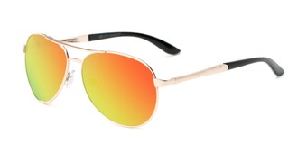 Angle of Piston #6308 in Gold/Black Frame with Orange/Blue Mirrored Lenses, Women's and Men's Aviator Sunglasses