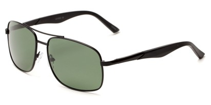 Angle of Providence #1989 in Black Frame with Green Lenses, Men's Aviator Sunglasses