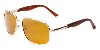 Angle of Providence #1989 in Gold Frame with Orange Lenses, Men's Aviator Sunglasses
