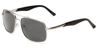 Angle of Providence #1989 in Silver Frame with Grey Lenses, Men's Aviator Sunglasses