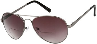 Angle of Bond #66426 in Grey with Smoke Lenses, Women's and Men's Aviator Reading Sunglasses