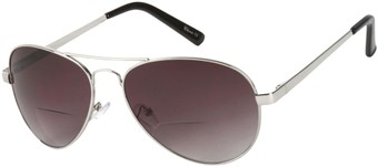 Angle of Bond #66426 in Silver with Smoke Lenses, Women's and Men's Aviator Reading Sunglasses
