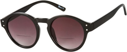 Angle of Davis #66428 in Black, Women's and Men's Round Reading Sunglasses