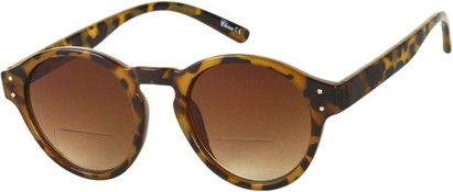 Angle of Davis #66428 in Tan Tortoise, Women's and Men's Round Reading Sunglasses
