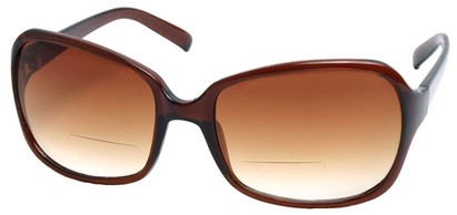 Angle of SW Oversized Bi-Focal Style #7606 in Brown Frame, Women's and Men's