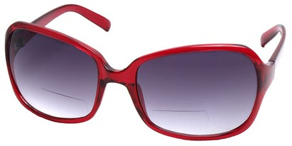 Angle of SW Oversized Bi-Focal Style #7606 in Red Frame, Women's and Men's