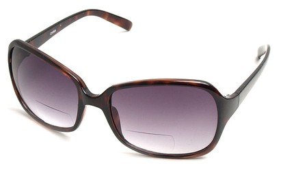 Angle of SW Oversized Bi-Focal Style #7606 in Tortoise Frame with Smoke Lenses, Women's and Men's