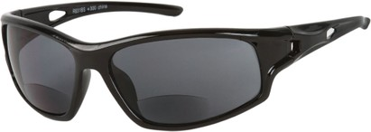 Angle of Ann Arbor #55831 in Glossy Black with Smoke Lenses, Women's and Men's Sport & Wrap-Around Reading Sunglasses