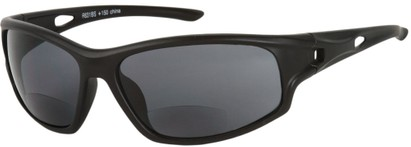 Angle of Ann Arbor #55831 in Matte Black with Smoke Lenses, Women's and Men's Sport & Wrap-Around Reading Sunglasses